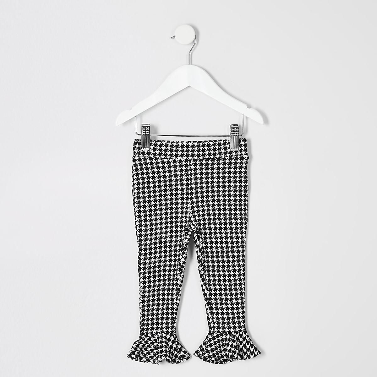 Girls black mono dogtooth check print legging