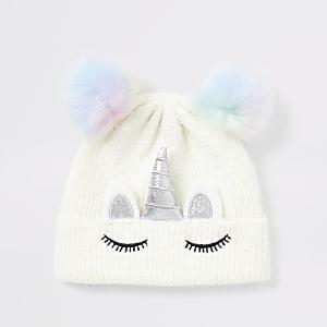 Weiße Mütze mit Kunstfellbommel und Einhorn für Mädchen
