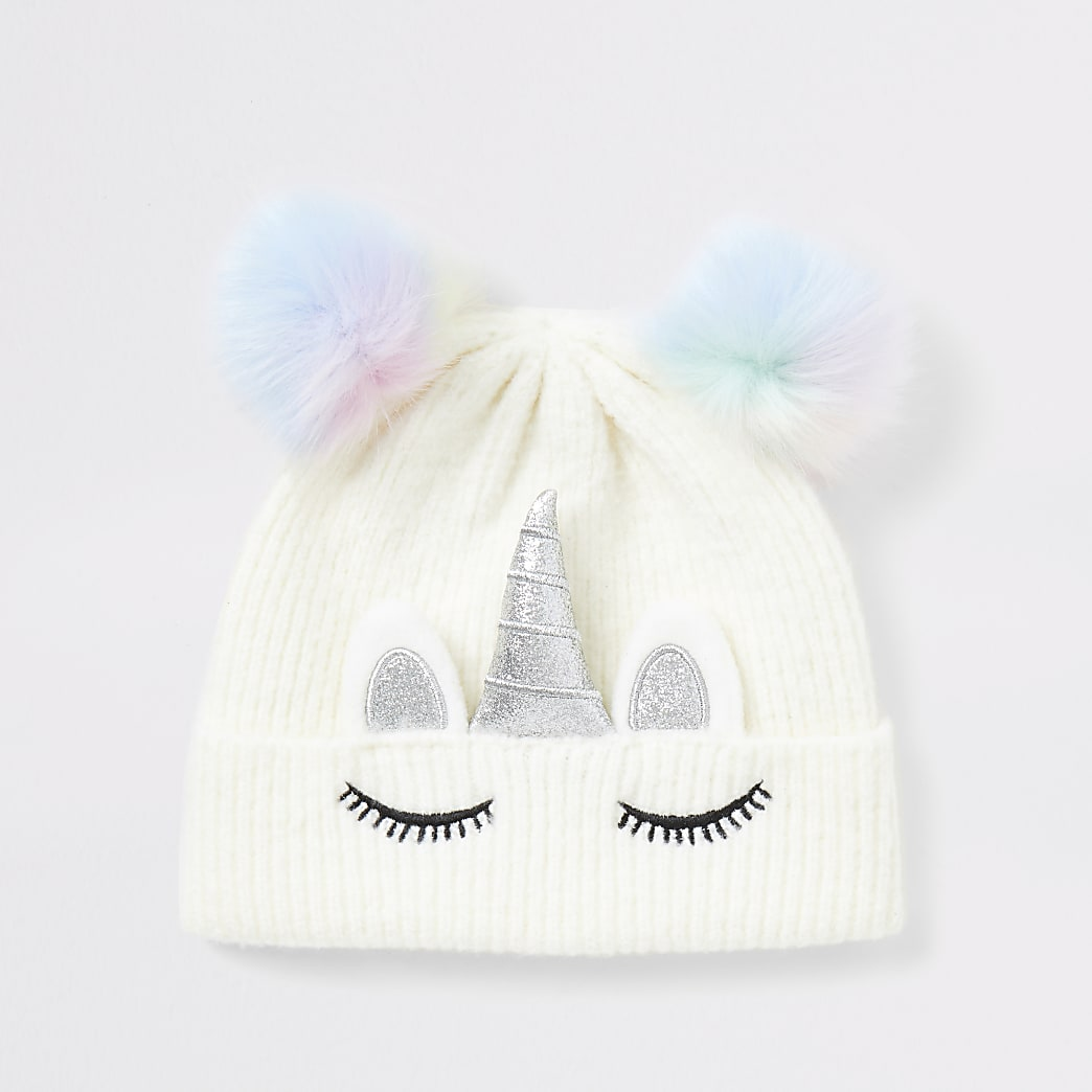 Girls white unicorn faux fur pom pom hat