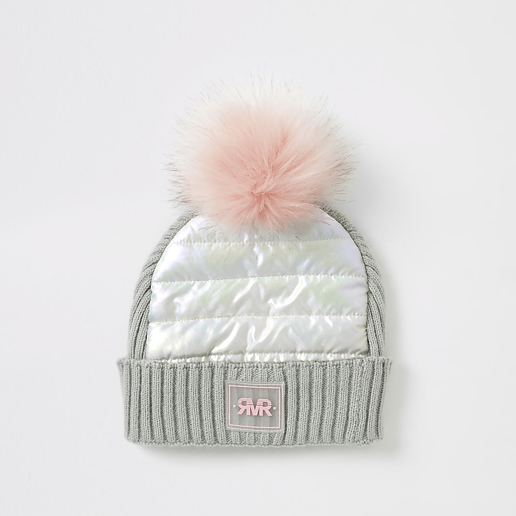 Girls grey padded faux fur pom pom hay