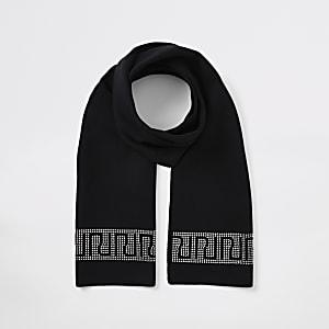 Schwarzer Schal für Mädchen mit RI-Strassbesatz