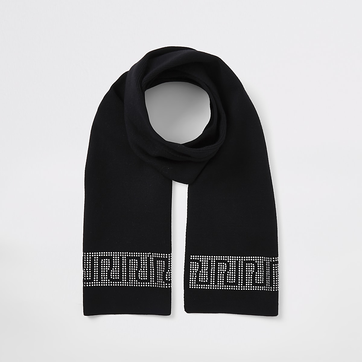 Girls black RI diamante trim scarf