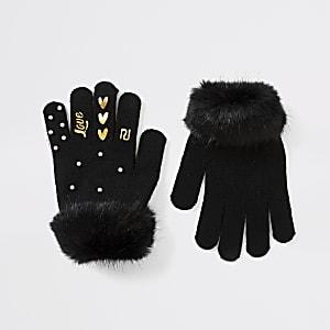 Schwarze Handschuhe mit Perlen- und Kunstfellbesatz für Mädchen