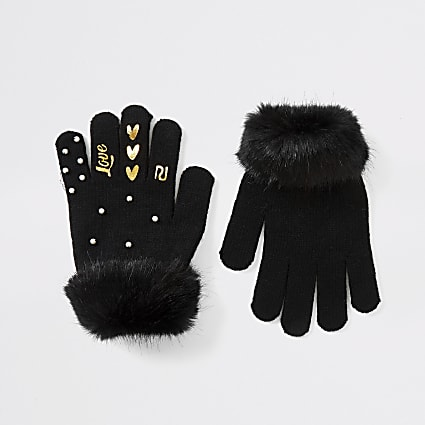 Girls black pearl faux fur trim gloves