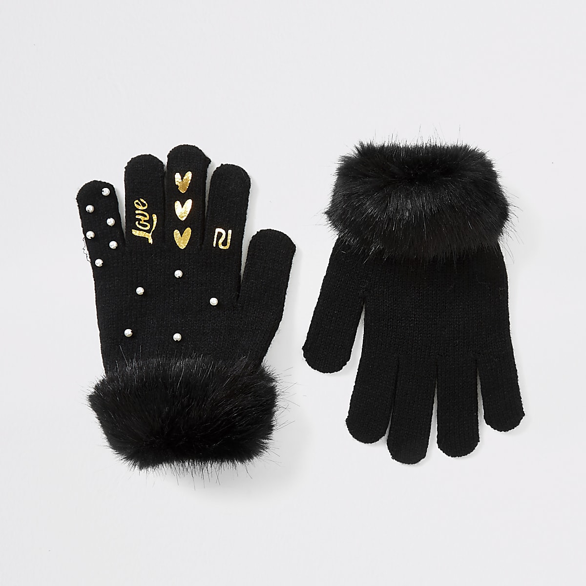 Girls black pearl faux fur trim gloves