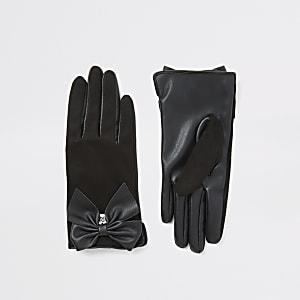 Gants noirs en suédine avec nœudpour fille