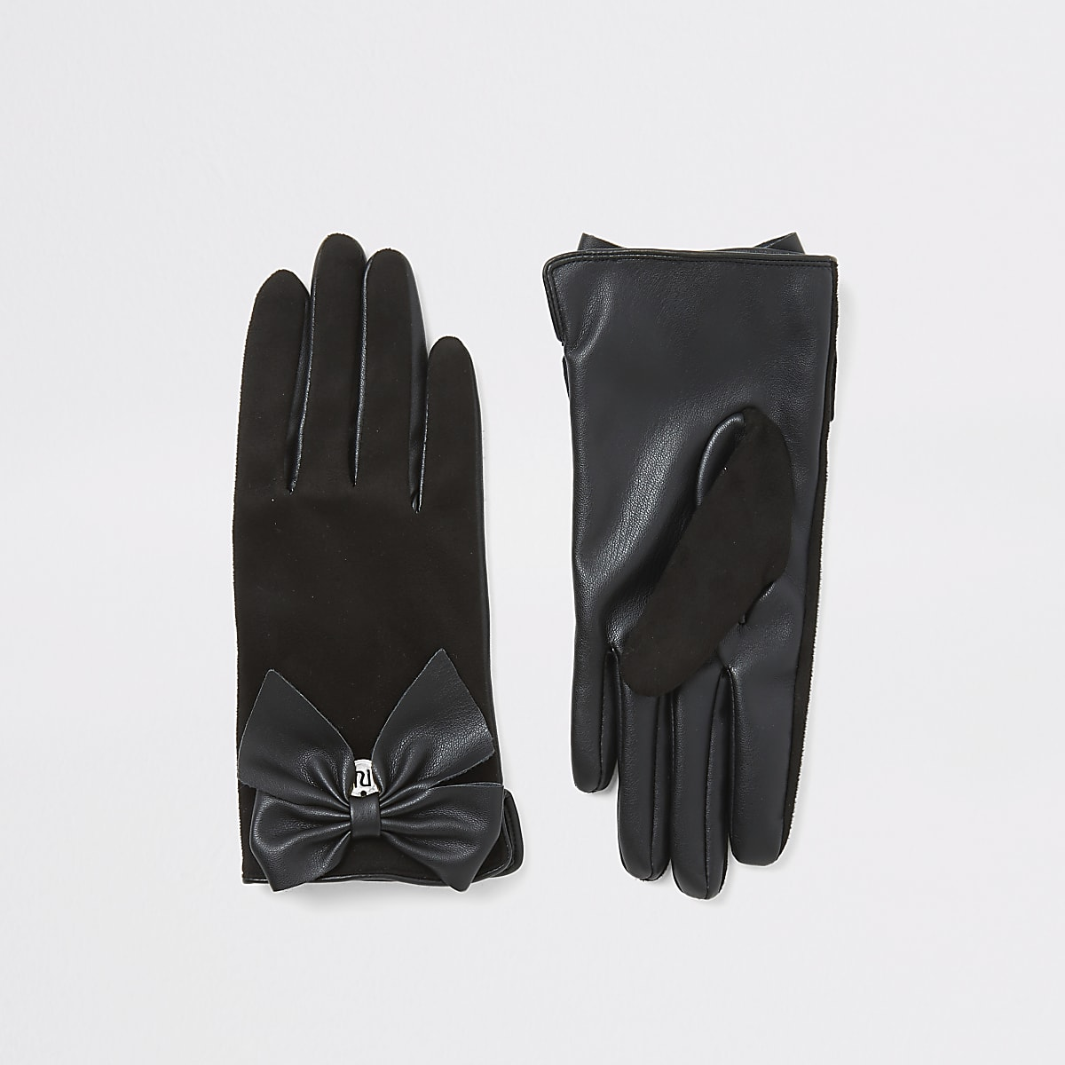 Zwarte handschoenen van imitatiesuède met strik voor meisjes