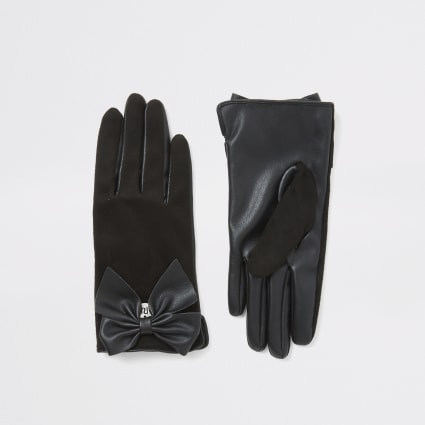 Girls black faux suede bow gloves