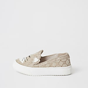 Baskets chat marron ornées Mini fille