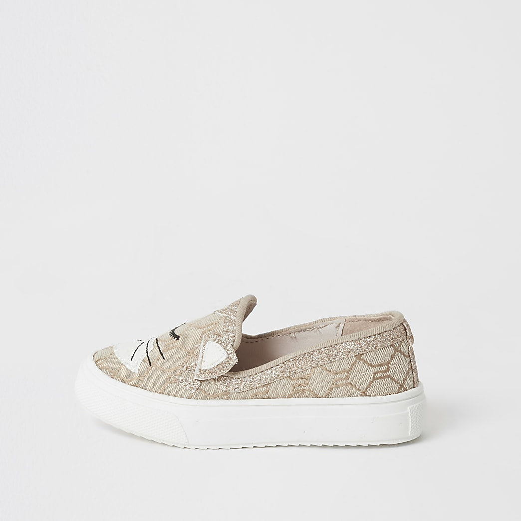 Mini girls brown cat embellished trainers