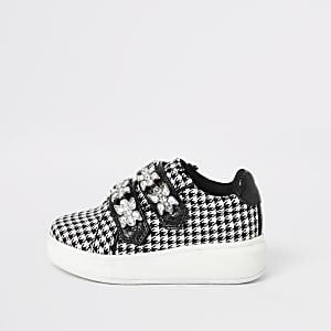 Baskets pied-de-poule noir Mini fille