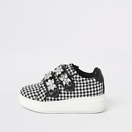 Mini girls black houndstooth plimsolls