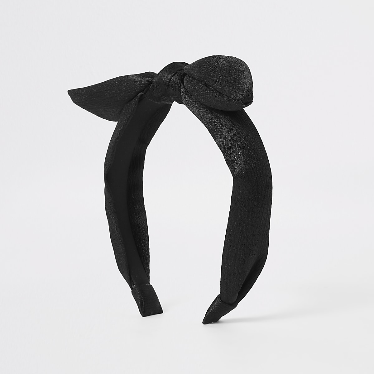 Girls black satin bow headband
