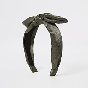 Khaki Stirnband mit Schleife