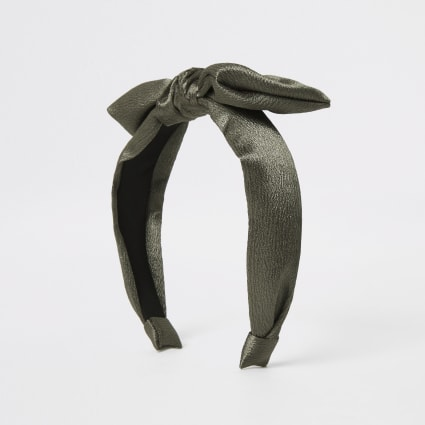 Girls khaki satin bow headband
