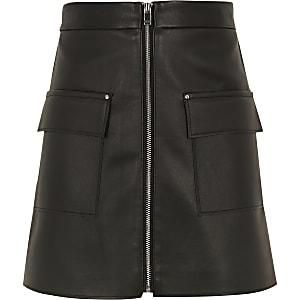 Jupe en cuir synthétique noire à poche zippée pour fille