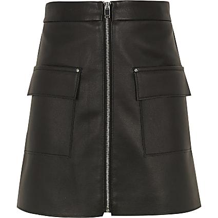 Girls black faux leather zip pocket skirt