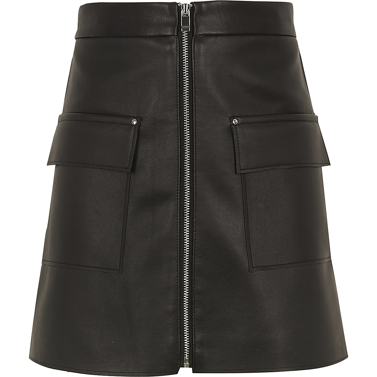 Girls black faux leather zip pocket skirt