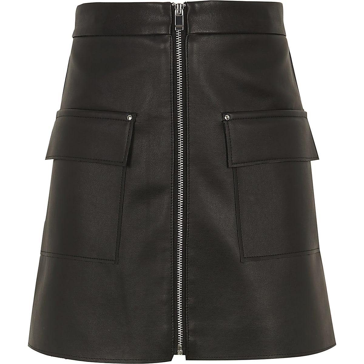 Zwarte imitatieleren rok met rits en zakken voor meisjes