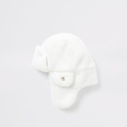 Mini girls white faux fur trapper hat