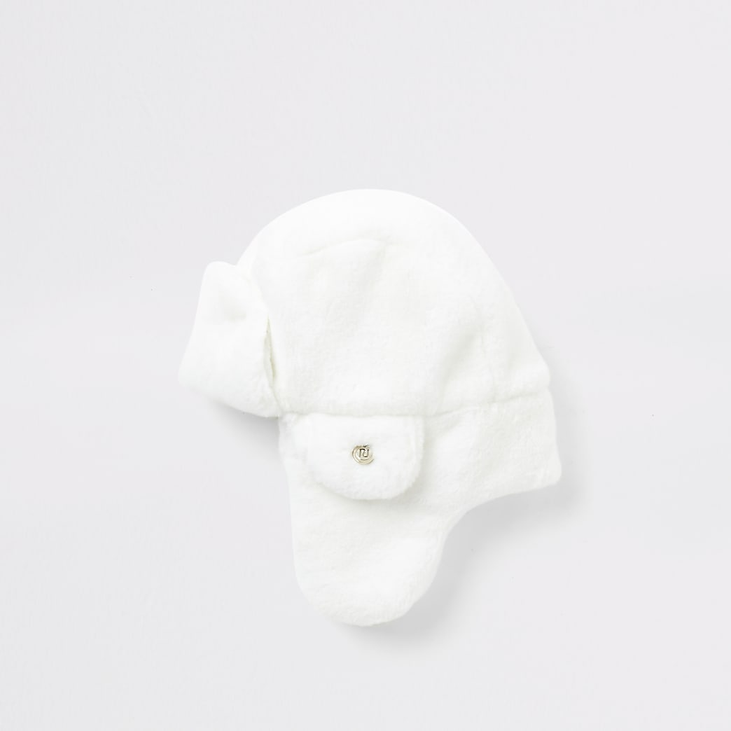 Mini girls white faux fur trapper hat