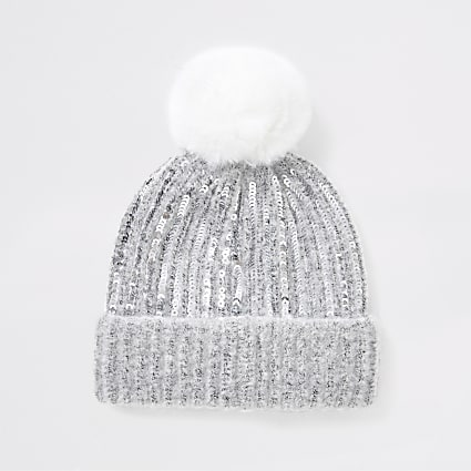 Mini girls grey mini sequin faux pom beanie