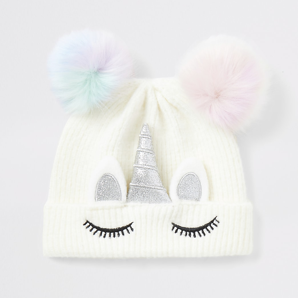 Mini girls unicorn faux fur pom beanie hat