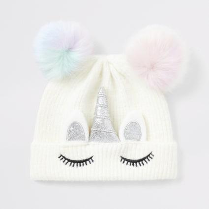 Mini girls unicorn faux fur pom beanie hat