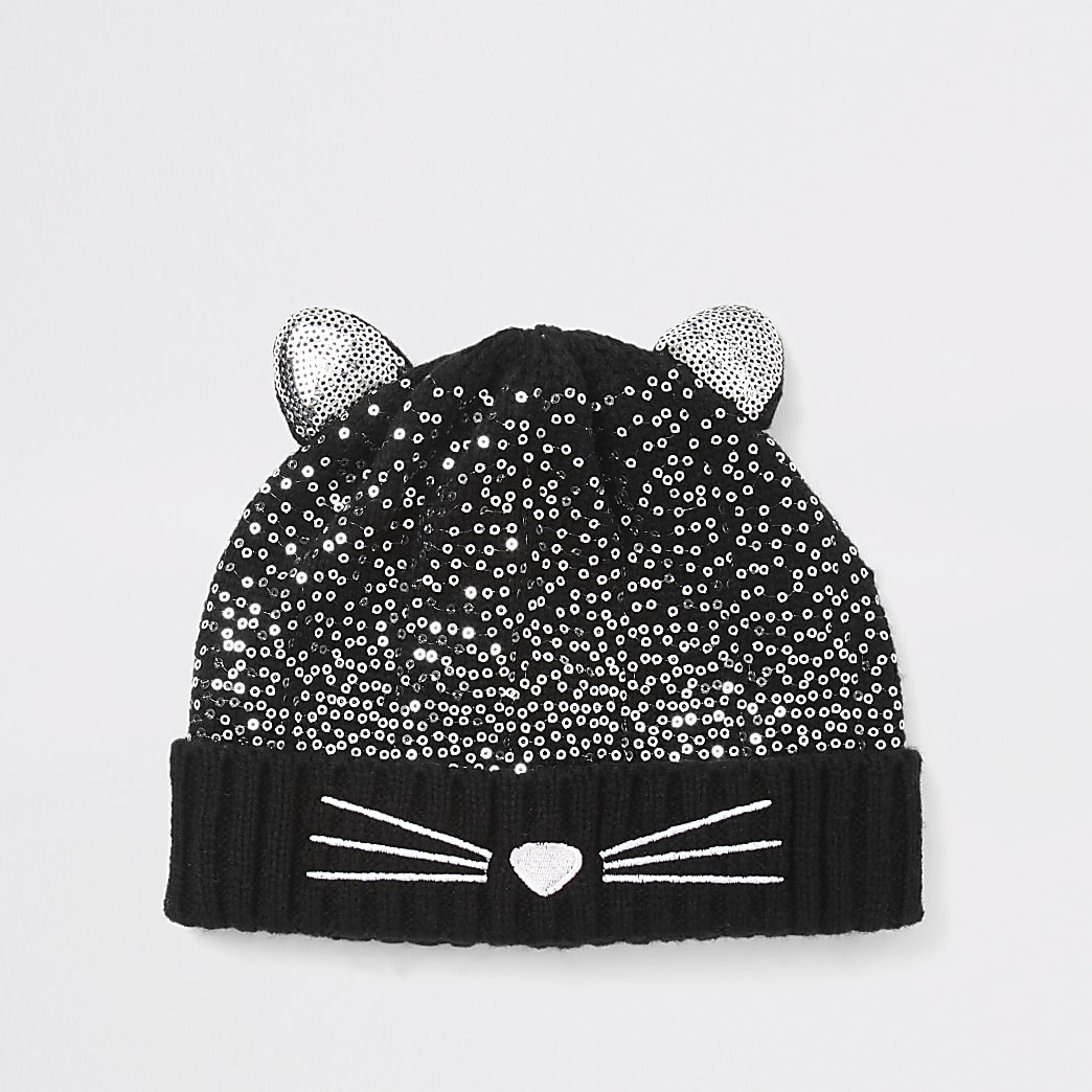 Mini girls black cat sequin beanie hat