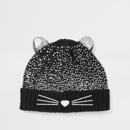 Mini girls black cat sequin beanie hat