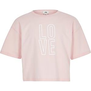 Girls pink printed crop top