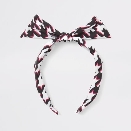 Girls white dogtooth check bow headband