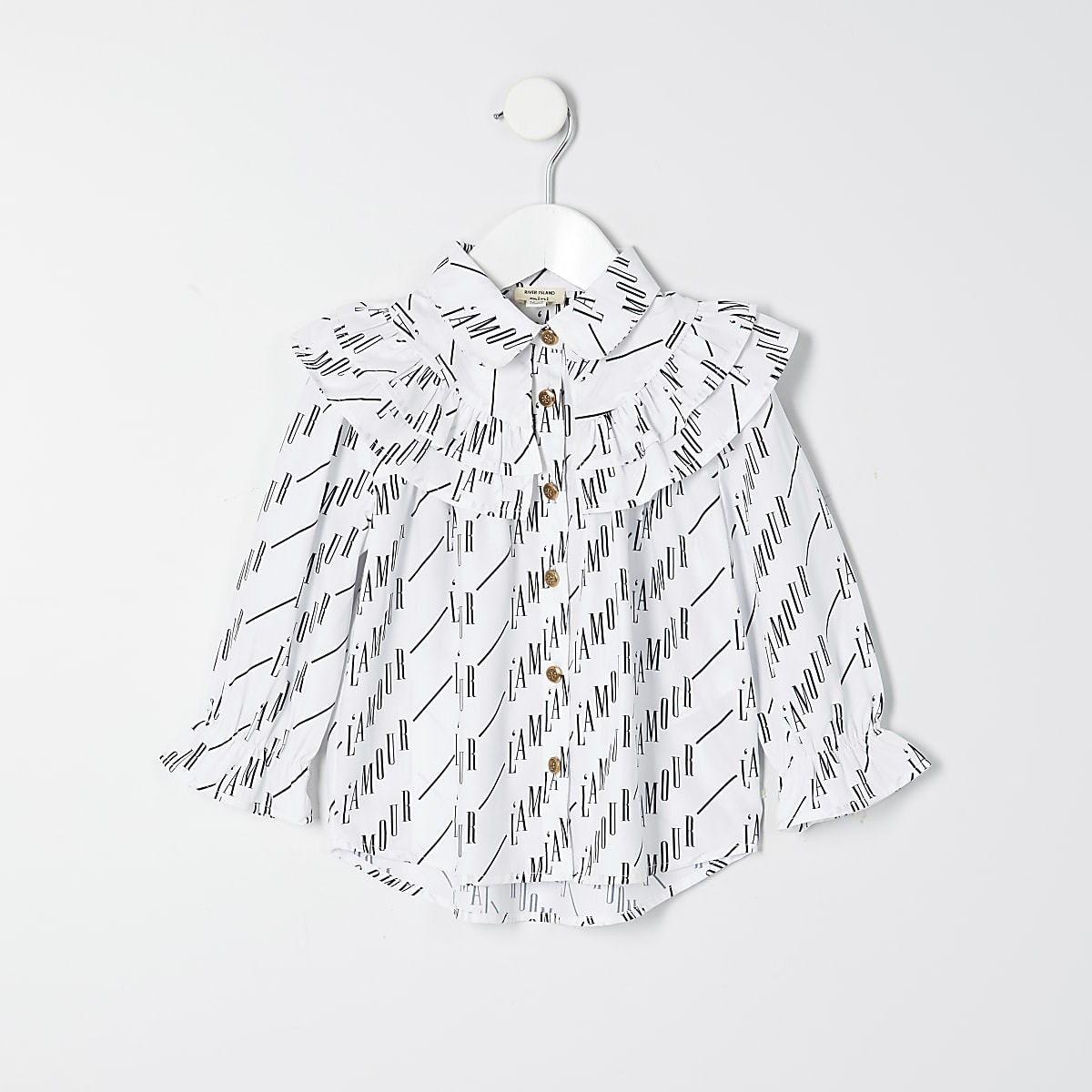 Mini girls white 'l'amour' print shirt