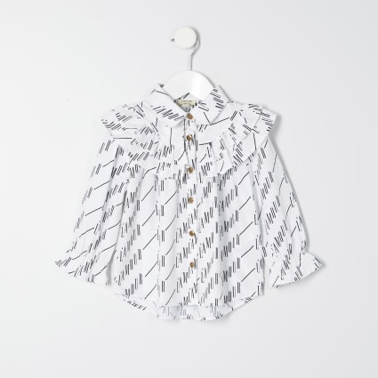 Mini girls white 'L'amour' print shirt