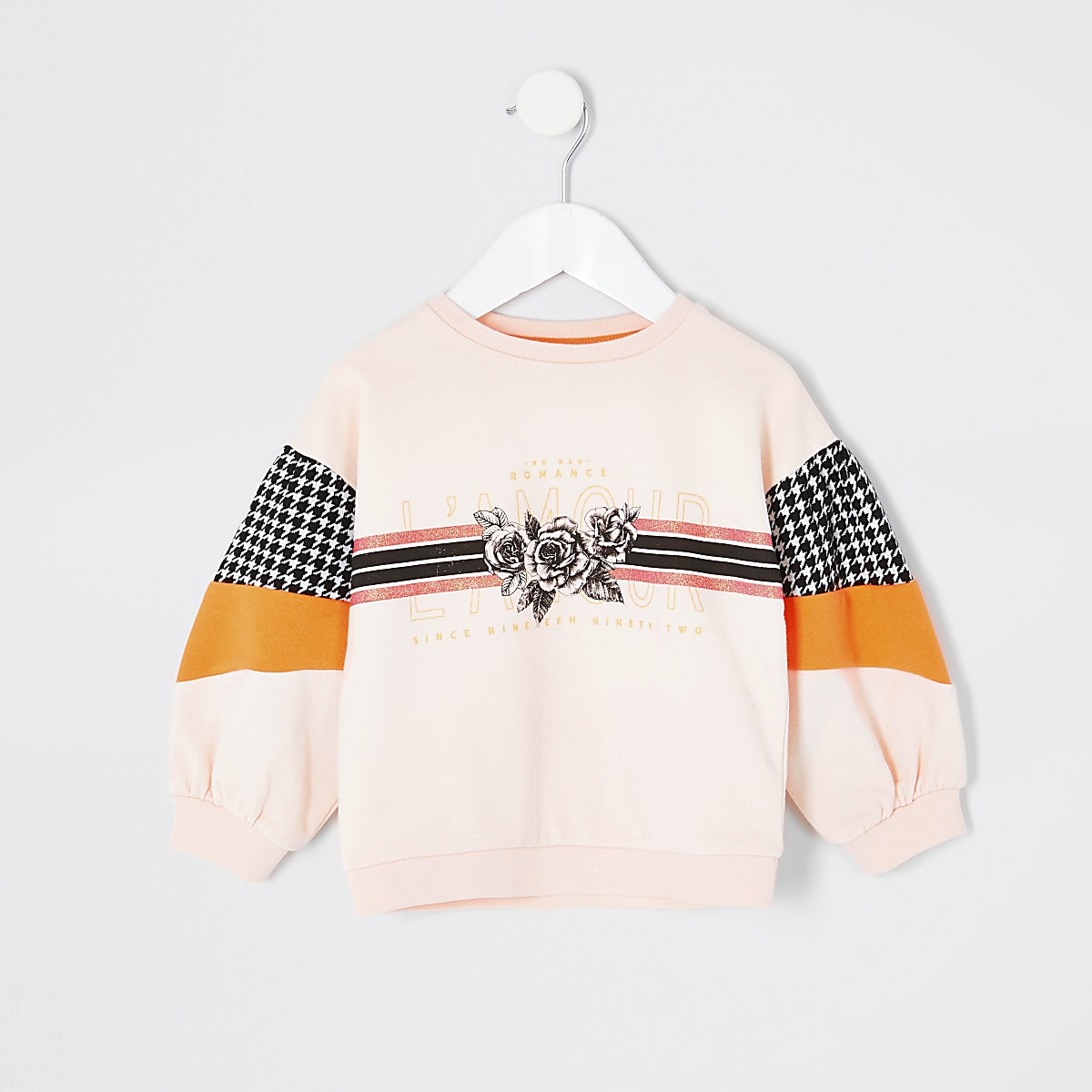 Mini girls pink 'Lamour' print sweatshirt