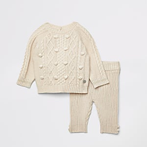 Outfit met crème gebreide pullover met pompons voor baby's