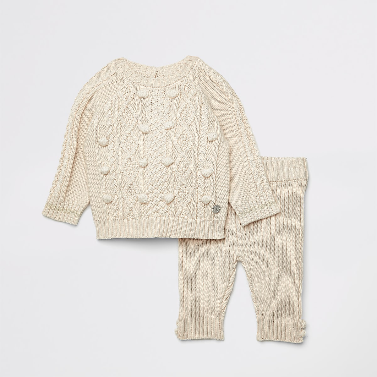 Baby cream knitted bobble jumper outfit