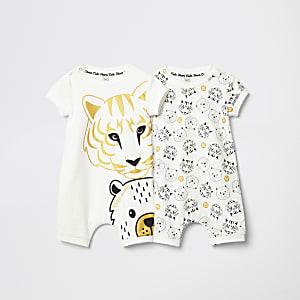Lot de deux barboteuses imprimé tigre blanches pour bébé
