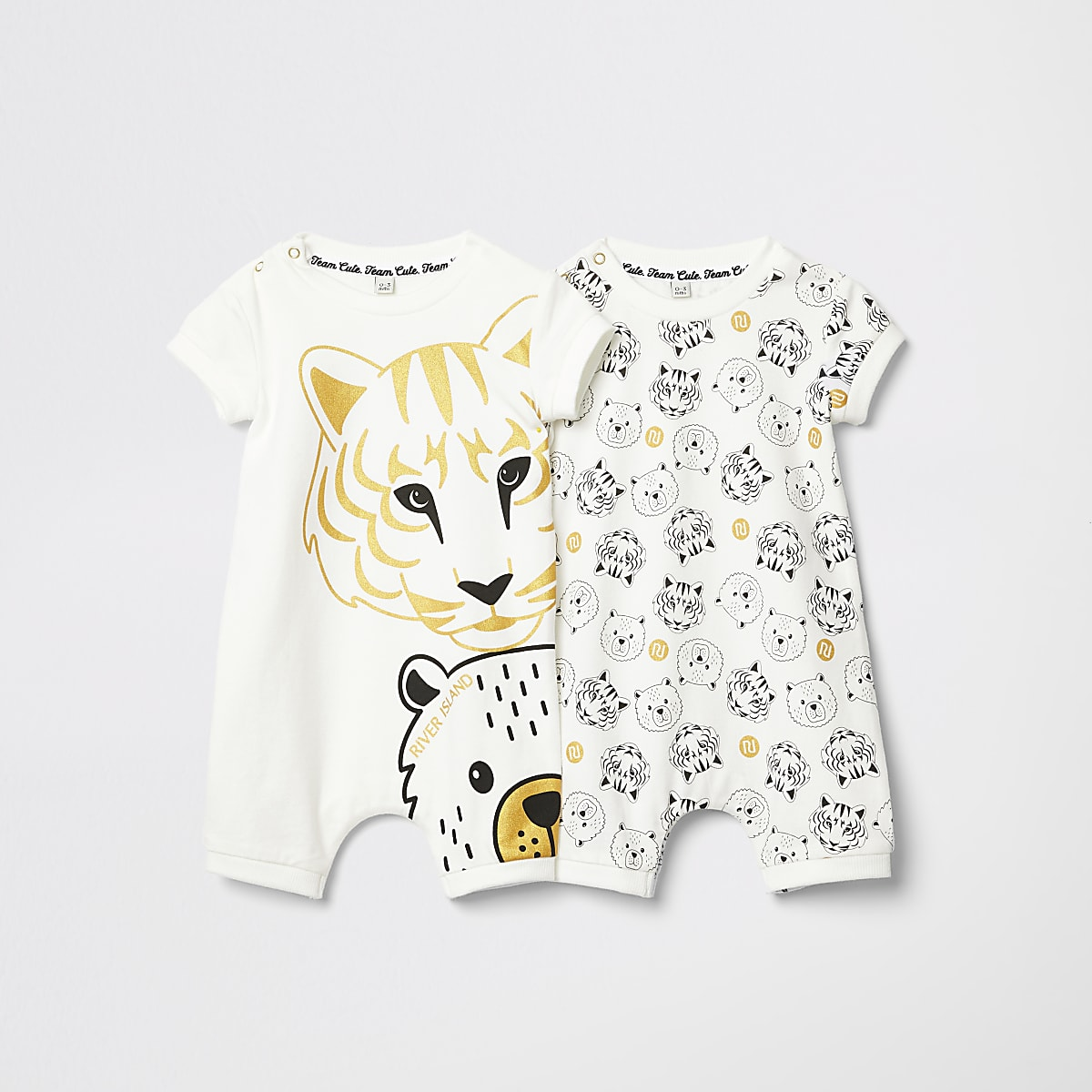 Baby white tiger print two pack rompers