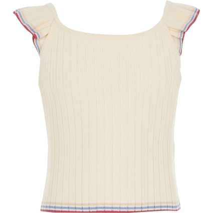 Girls cream knitted top
