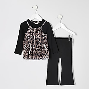 Ensemble noir avec top en tulle léopard pour mini fille
