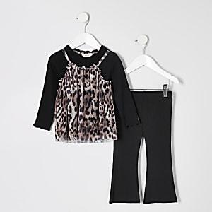 Mini - Outfit met zwarte mesh top met luipaardprint voor meisjes