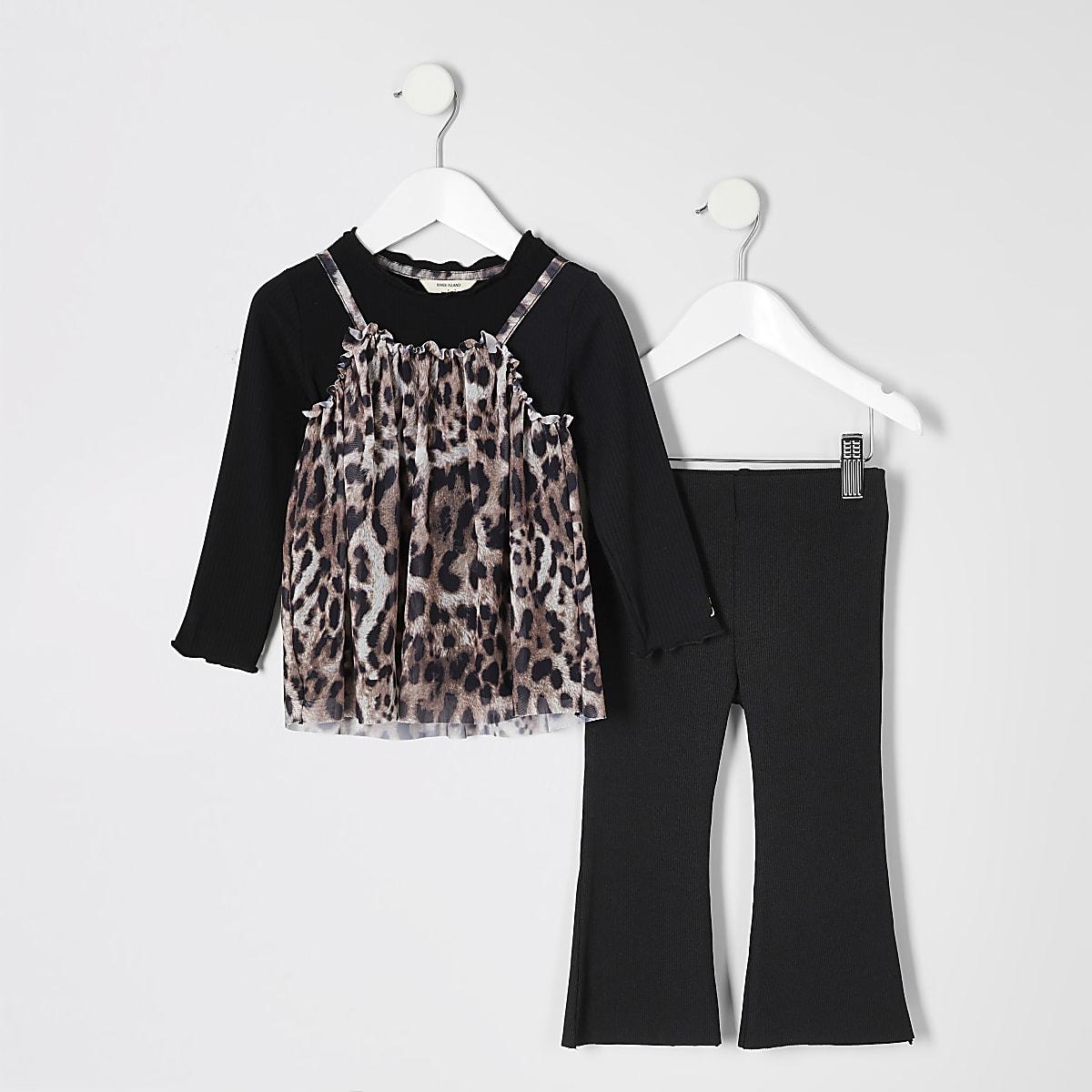 Mini girls black leopard mesh top outfit