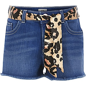Girls blue Becca leopard belted denim shorts