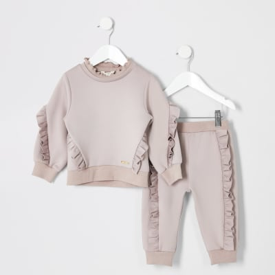 Mini Girls Pink Frill Jumper Outfit by River Island