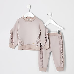Ensemble avec pull rose à volants mini fille