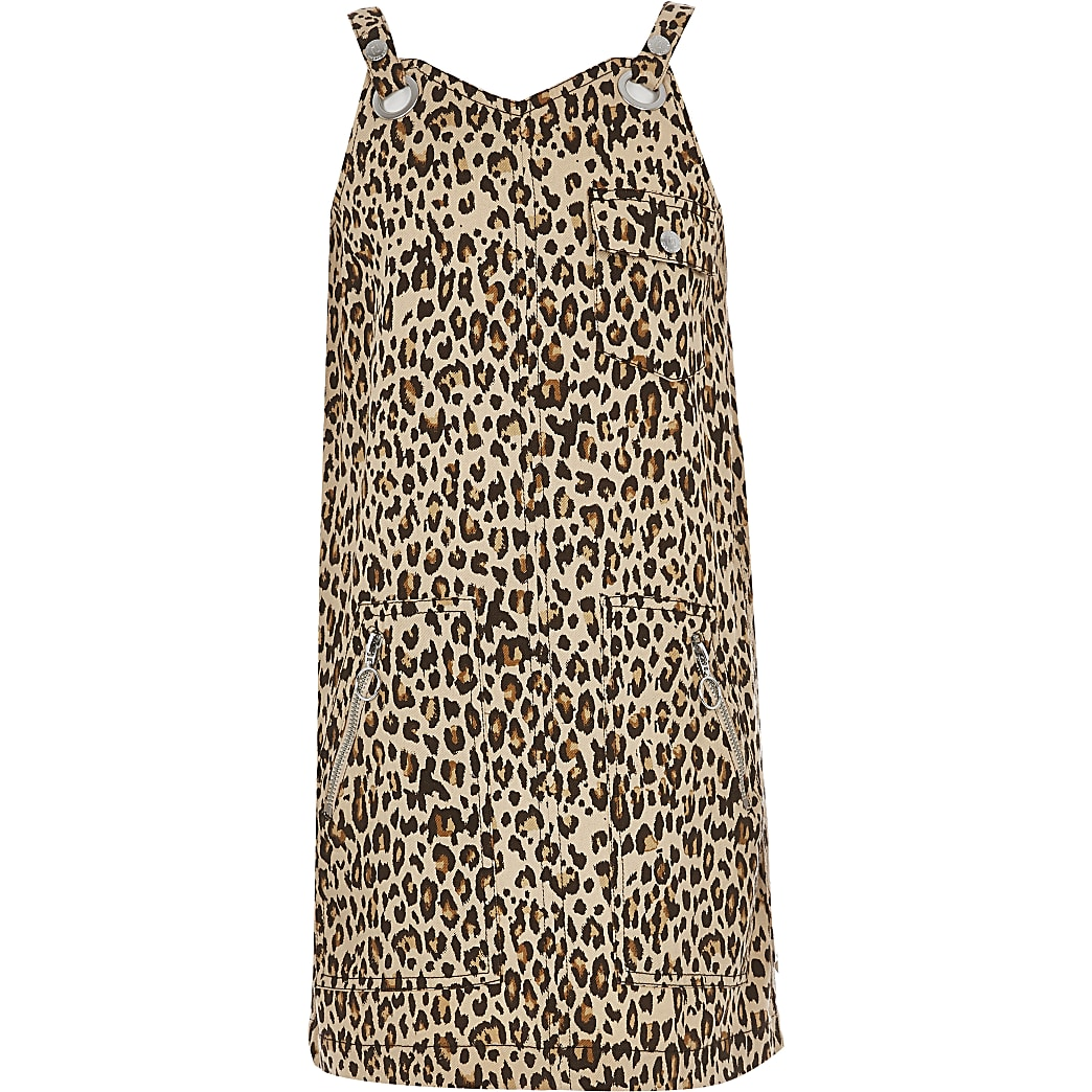 Girls beige leopard print pinafore dress