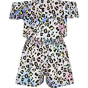 Tie-dye bardot-playsuit met luipaardprint voor meisjes