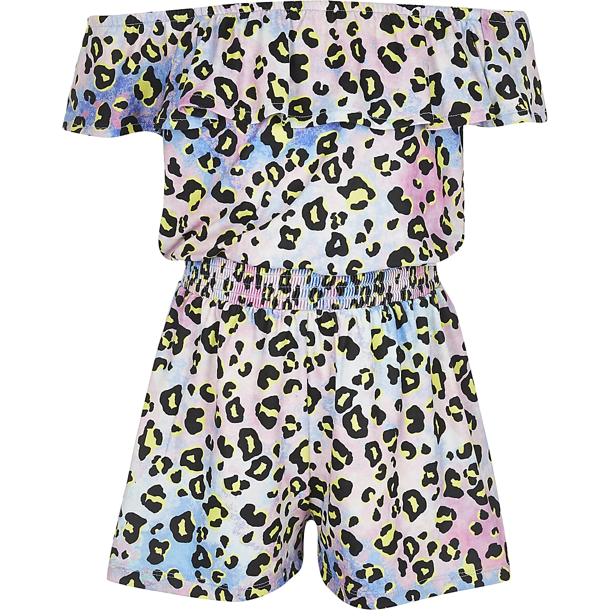 Girls tie dye leopard print bardot playsuit