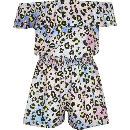 Girls tie dye leopard print bardot playsuit